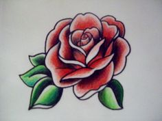 American Traditional Rose Flash - Graphic Marker and Colored Pencil