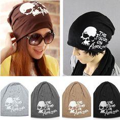 Mens Women Double-deck Skull Letter Beanie Turban Hat