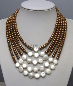 Beadwork necklace, bib with Freshwater Pearl Pearl Jewelry, Wire Jewelry, Jewelry Crafts, Beaded Jewelry, Jewelery, Jewelry Necklaces, Handmade Jewelry, Diamond Jewelry, Diy Necklace