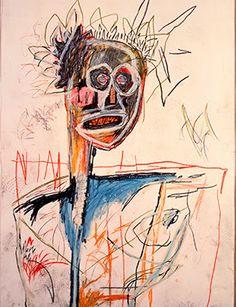 """Jean-Michel Basquiat, Untitled """"1982"""" Es wird auch eine innere schreckliche Welt erkennbar. Der Künstler starb an einer Überdosis mit 28 Jahren. Er hinterließ mehr als 1000 Gemälde und Objekte sowie 2000 Zeichnun"""