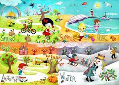 A seasons illustration for Happy Spaces - Illustration Portfolios, Illustrators, Artwork, Drawings - That's My Folio