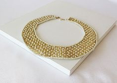 Gold Collar Necklace Peter Pan Collar Pearl Collar by aynurdereli#handmade #fashion #collar #sale #women #trend
