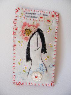 Handmade, machine embroidered brooch