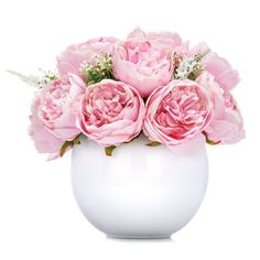Secret Garden Decor Peony Rose in White Round Vase - now we can have fresh looking peonies at home all year found ( no one will know they are faux!)