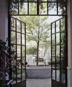 Doors don't get much cooler than this. Check out this awesome set of doors: Pin It Steel windows and doors offer greater strength and design flexibility. Patio Interior, Interior And Exterior, Exterior Doors, Interior Design, Interior Decorating, Orangerie Extension, Black French Doors, French Windows, Door Design