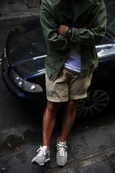 army green + khakis + grey new balance