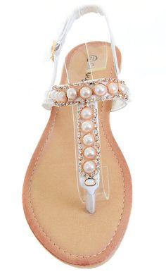 ab28850ad058 Pearls Jeweled Rhinestone T-Strap Flat Sandals