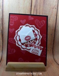 Stampin' Up! CAS Valentine's card made with Sealed with a Kiss stamp set and designed by Demo Pamela Sadler. See more cards at stampinkrose.com #stampinkpinkrose#etsycardstrulyheart