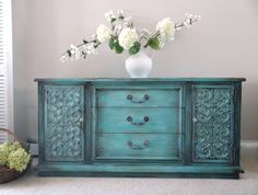 Vintage Hand Painted French Country Romantic Cottage Chic Distressed Turquoise / Aqua Buffet / Console Cabinet