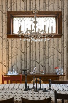 The accents in this dining room play towards the forest theme, while the chandelier and craftsman home details add a sense of formality. Design Sponge, Designer Wallpaper, Apartment Room, Decor, Home Decor Inspiration, Wallpaper, Inspirational Wallpapers, Wood Wallpaper, Birches Wallpaper