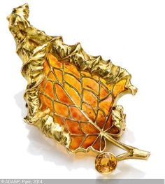 R.Lalique Leaf Brooch - Sothebys