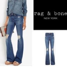 """RAG & BONE DESTROYED DENIM FLARE. NWOT. 28 RAG & BONE DESTROYED DENIM FLARE jeans NWOT. These are awesome jeans my daughter never wore bought at Intermix on Robertson in LA. Perfect with heels or flats. Great color! 35"""" inseam so plenty of length for long legs and can easily be hemmed if too long. Size 28. rag & bone Jeans Flare & Wide Leg"""