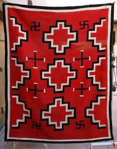 Germantown Navajo Textiles Blanket With Whirling Log Symbols Sheryl Hughes Native American Indian Weavings