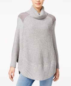 Maison Jules Faux-Suede-Trim Poncho Sweater, Created for Macy's