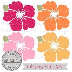 Hibiscus Clip Art, Flower Digital Clipart, Flower Commercial OK only 99¢