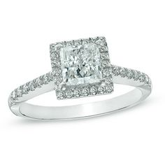 1-1/3 CT. T.W. Certified Princess-Cut Diamond Frame Engagement Ring in 14K White Gold (H-I/I1)