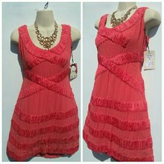 New List! ANTHROPOLOGIE 70'S GLAM SUMMER TREND SM BRAND NEW Yoana Baraschi for ANTHROPOLOGIE  70'S GLAM BLOW UP DRESS **LIMITED EDITION ** BLOW UP DRESS MELON COLOR SIZE SMALL 4-6 SEE YOANA SIZE CHART Anthropologie Dresses Midi