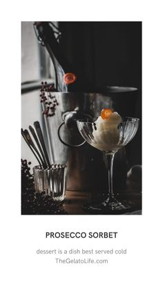 A light and refreshing sorbet perfect for a laid back brunch. Gelato Ice Cream, Ice Cream Maker, Spring Desserts, Frozen Desserts, Beautiful Desserts, Mimosas, Soft Serve, Ice Cream Recipes