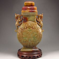 Vintage Chinese Natural Hetian Jade Low Relief Double Dragons Vase w Lid