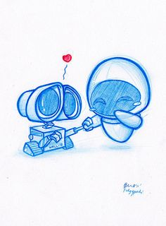 EVE and WALL-E. This is too cute for words. I like how the artist made them so expressive and adorable looking.