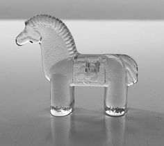 Vintage Crystal Glass Horse Candle Holder by Bertil Vallien