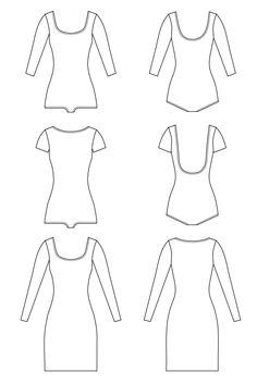 Nettie bodysuit & dress pattern // Technical flats // Closet Case Files