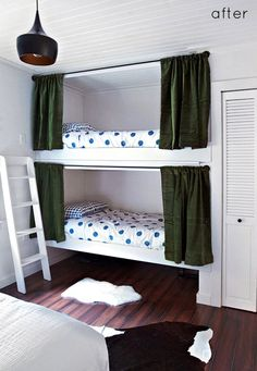 Cute built in bunks for the kids. No ugly stand out frames. Fits seamlessly into the room and gives you more space.