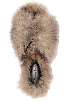 Slight heel Tonal-beige faux fur Slip on Made in Italy Cool Slides, Faux Fur Slides, Brown Earrings, Black Socks, Slide Sandals, Victoria Beckham, Winter Hats, Beige, Leather