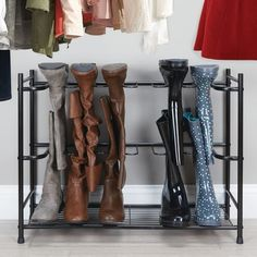 Products mDesign Metal Boot Storage and Organizer Rack, Holds 6 Pairs - Espresso Brown Board Games: Tall Boots, Shoe Boots, Shoes, Boot Storage, Storage Rack, Storage Ideas, Closet Storage, Easy Storage, Storage Solutions