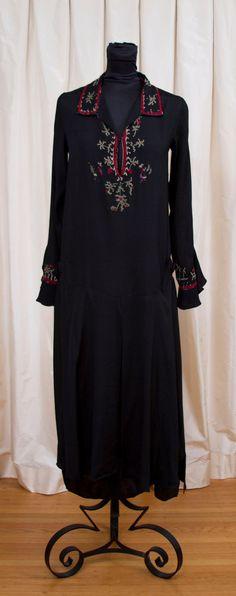1920's Dress // Hungarian Embroidered Black Silk Flapper Dress. $200.00, via Etsy.