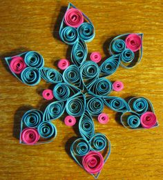 hot pink and turquoise snowflake