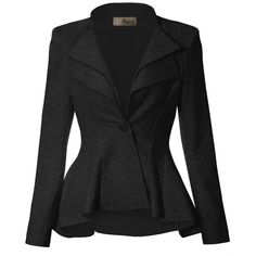 Women Double Notch Lapel Office Blazer JK43864 1073T CHARCOAL 1X at... (1.655 RUB) ❤ liked on Polyvore featuring outerwear, jackets, blazers, charcoal blazer, charcoal jacket, blazer jacket, notch collar jacket and charcoal grey blazer