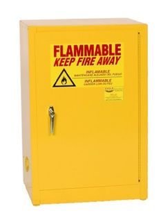 """Eagle 1925 Safety Cabinet for Flammable Liquids, 1 Door Manual Close, 12 gallon, 35""""Height, 23""""Width, 18""""Depth, Steel, Yellow by Eagle Manufacturing. $590.74. Eagle Flammable Safety Cabinet, 12 Gallon, Space Saver, Manual Close with 1 Door, 1 shelf and a yellow powder coat finish with a trilingual safety warning label.. Save 28% Off!"""