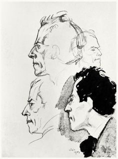 Studies for an etched portrait of Gustav Mahler, 1903.    Emil Orlik, from Zeichnungen von Emil Orlik (Drawings by Emil Orlik), with an introduction by Hans Wolfgang Singer, Leipzig, 1912.