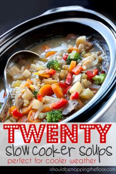 """TWENTY Slow Cooker Soups Pinner says, """"Perfect for Cooler Weather"""""""