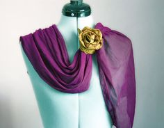 Scarf and Flower Set Choose Your Rose Purple by magdamagdaFashion, $12.50