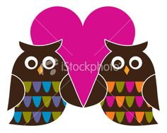 Retro Valentine Owls Royalty Free Stock Vector Art Illustration - like these 2