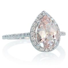 14K White Gold Pear Cut Morganite Engagement Ring Shape by SAMnSUE