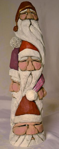 Hand Carved Wood Totem Pole Santa with 6 Faces by TPOriginals, $160.00
