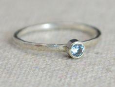 Classic Sterling Silver CZ Aquamarine Ring