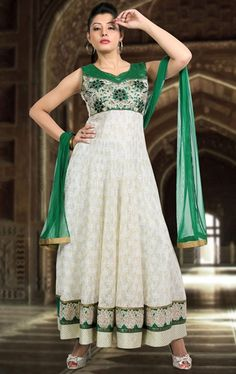 Tranquil Green and Off White Color Wedding Salwar Suit
