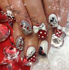 Minnie and Mickey Mouse Nails Bling Nails, Red Nails, White Nails, Hair And Nails, Shellac Nails, Fancy Nails, Nail Polish, French Nail Designs, Cute Nail Designs