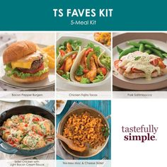 Your clients will love this kit with five top-rated recipes made with a selection of our favorite products. Each recipe serves 6. Includes four products, recipes and grocery list. Tastefully Simple, Skillet Chicken, Chicken Fajitas, Tex Mex, Mac And Cheese, Weeknight Meals, Bacon, Pork, Stuffed Peppers