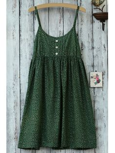 Spaghetti Strap Green Print Sleeveless Dress GREEN: Print Dresses | ZAFUL