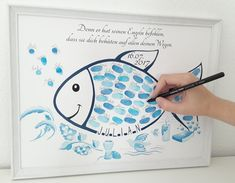 Tauffish Fingerprint Fish Baptism-Baptismal Gift-Gift Personalized for Poster Tauffisch Fingerabdruck Fisch Taufe Geschenk Gästebuch Cadeau Communion, Communion Gifts, Color Symbolism, Selling Handmade Items, Presents For Girls, Baptism Gifts, Book Girl, Teacher Gifts, Snowman