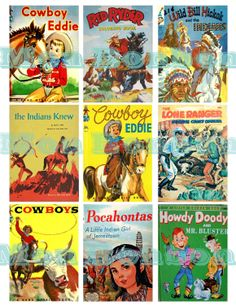 Digital Collage Sheet of Vintage and Retro Cowboys and Indians Childrens Book Images for your artwork, atcs, card making, tags, scrapbooking. $2.99, via Etsy.