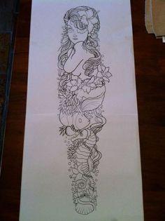 New Tattoo Sleeve Ideas Drawings Inspiration Tatoo Ideas Easy Half Sleeve Tattoos, Mermaid Sleeve Tattoos, Mermaid Tattoo Designs, Dragon Sleeve Tattoos, Leg Sleeve Tattoo, Sleeve Tattoos For Women, Women Sleeve, Tatto Designs, Arm Tattoo