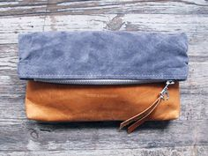 Two tone folding clutch, leather and canvas