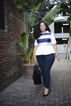"""Genius Denim Styling Tips That Flatter Everyone  #refinery29  http://www.refinery29.com/plus-size-denim-outfits#slide11  The Destination: Lunch with friends The Key To Nailing This Look:  """"Dark denim is so classic, but the rest of the outfit doesn't have to be! Layer a crop top over a button-down or cashmere sweater for a really creative fall look. And, here I wore shoes that match my denim, which creates a lengthening effect."""""""