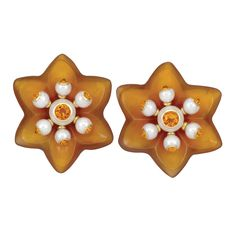 Pair of Gold, Carved Carnelian, Citrine and Cultured Pearl Flower Earclips, Seaman Schepps